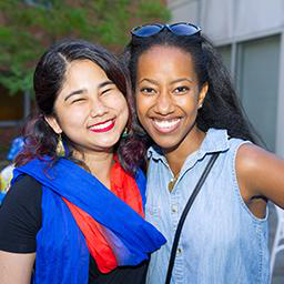 Two female students at the Multicultural Welcome Celebration