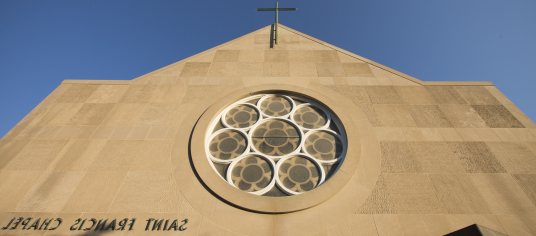 Focus on the top part of St. Francis Chapel